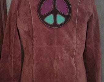 Wilson's leather brown suede boho hippie embroidered upcycled jacket - L