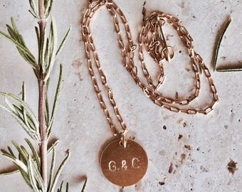 Custom Hand Stamped Brass Full Moon. Circular, round personalized tag necklace. Moon necklace. Geometric custom necklace. Blue moon...