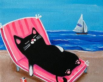 BEACH CAT Folk Art Cat PRINT, sun lover cat, Coke can, funny cat art, cat home decor, whimsical cat art by Krista