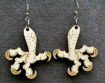 Bird Claw Wood Earrings