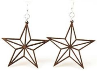 Nautical Cut Out Star - Laser Cut Wood Earrings
