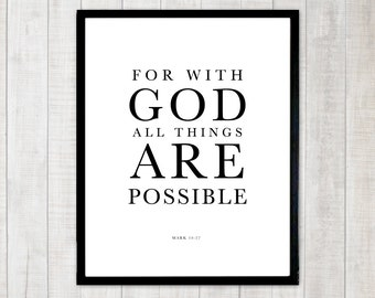 Christian Typography Scripture Bible Verse Printable Poster
