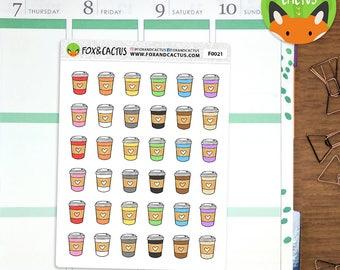 Coffee Takeaway Cups - Hot Chocolate Cup Tea Date Latte Breakfast - Planner Stickers (F0021)