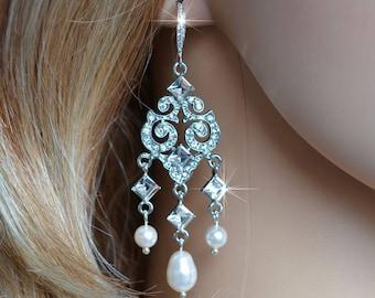 Vintage Inspired Fancy Cut Crystal Rhinestone, Cubic Zirconia CZ and Pearl Chandelier Earrings, Bridal, Wedding (Pearl-515)