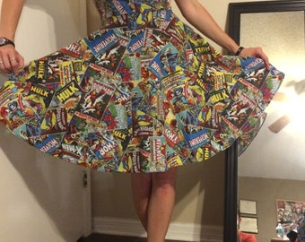 MARVEL Comic book PINUP Dress! Fully Lined. Full Petty Coat. CUSTOM to Your measurements. Spiderman Wolverine Thor Ironman Capt America Hulk