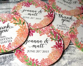 Watercolor stickers, watercolor favor labels, floral favor stickers, flower stickers, floral stickers, custom wedding favor sticker custom