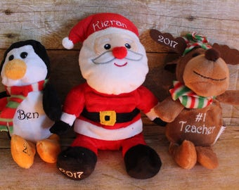 Personalized plush animals, Bear, Reindeer, Polar Bear, Santa, Personalized Christmas Toys, Stocking Stuffers