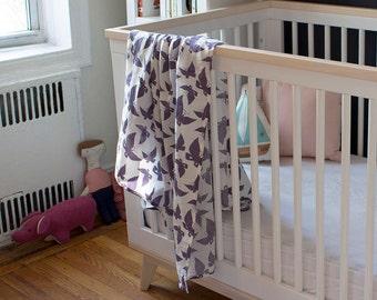 Purple Butterfly Organic Swaddle Blanket - Swaddle Blanket - GOTS Certified - Muslin Baby Blanket - Muslin Baby Swaddle - Gauze Baby Swaddle