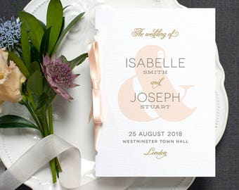 Ampersand Wedding Program / 'Modern Typography' Pocket-sized Order of Service Mass Booklet / Blush Peach Gold / Custom Colours / ONE SAMPLE