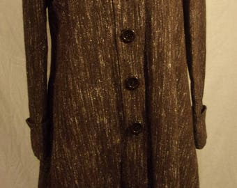 Unique Vintage 70s embroidered Brown tweed swing coat small by Jolie