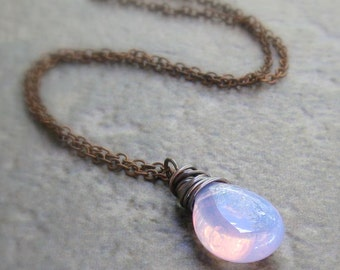Lilac Opalite Necklace, Antique Copper Wire Wrapped Smooth Briolette Pendant - Periwinkle Blue, Lilac, Pink - Chain Style Option