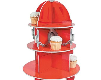 Bright Red Fire Hydrant Firefighter Theme Cupcake Display Stand Set Holds 24 Cupcakes! - Includes Temporary Tattoos & Balloons!!