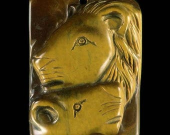 Hand-carved Lion and lioness Head Tiger's eye stone Pendant Bead