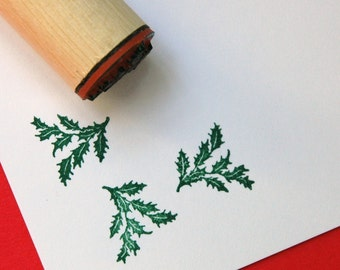 Holly Bough Rubber Stamp