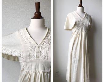 Vintage 1970s bohemian white dress sz S