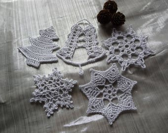 Set 5 doilies to crochet for Christmas decoration