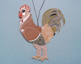 Articulated paper doll Rooster Cock marionette paper puppet funny boyfriend gift birthday present chinese horoscope coworker gift