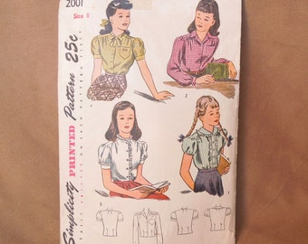 Vintage 40's Sewing Pattern, Simplicity 2001, Girls Size 8, Bust 26, Long Sleeve or Short Sleeve Shirt or Blouse in Four Variations