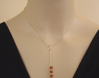 Baltic Amber Necklace - Honey Amber and Sterling Silver Jewelry - Lariat Necklace