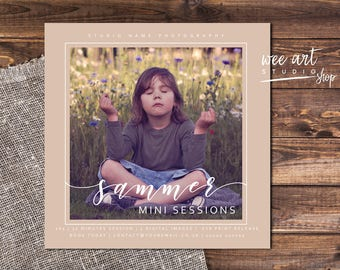 Photography Summer Mini Session Template for Photographers 5x5, White