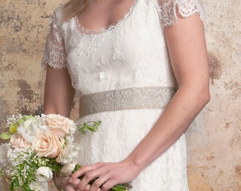 1920's lace wedding dress with train **NEW REDUCED PRICE**