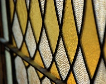 Glass Diamonds - travel photograph - window new orleans geometric yellow