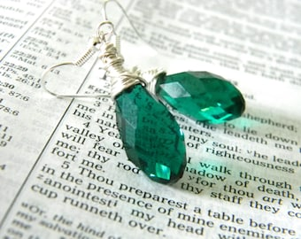 Teal Green Glass Wire Wrapped Drop Earrings