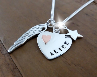 Sterling Silver Memorial Necklace, Silver and Copper Bereavement Gift, Remembrance Jewellery, Loss of Loved One, Loss of Child, Miscarriage