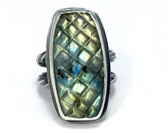 Carved Labradorite - Silver Ring - Boho gift for Mom - gift-for-her - large gemstone ring - gift for mom - protective jewelry - etsymetal