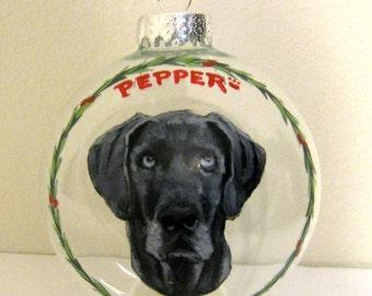 Great Dane, Dog Ornament, Custom Dog, Pet Loss Memorial, Pet Portrait, Christmas Ball, Gift for Mom, Pet Lovers Gift, Animal Art, Glass Art