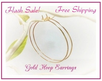"""SALE, Buy Gold Hoop Earrings, Hammered, 2"""" Hoops, 2.25"""" Hoops, 2.5"""" inch, 2.75"""", 3"""", Plain Thin Gold Hoops, Mother's Day Sale, Free Shipping"""