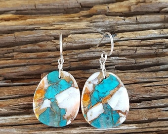 Santo Dominigo Turquoise and Spiny Oyster Sterling Silver Earrings, Oval Turquoise and Spiny Oyster Slab Earrings, Spiny Oyster