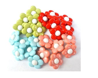 New buttons, flower buttons, resin buttons in 4 colors 15mm shank buttons-choose color and quanitity of each color