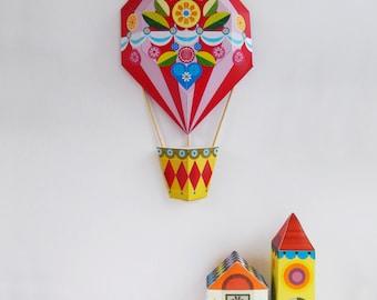 ellen giggenbach, red and pink, hot air balloon, paper craft