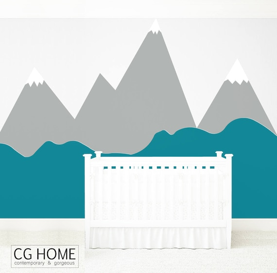 Mountains Wall Decal Baby Room Decal MOUNTAIN Wall Sticker Corner Pattern Custom Personalized Washable Headboard Nursery Decor #mountains014