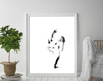 Minimalist cat art print, giclee print from watercolor painting of cat, minimalist wall art print, Cat Art