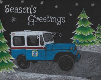 25, 50 or 100 Letter Carrier Holiday Greeting Post Cards, postal postcards.