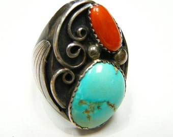 Vintage Native American Robin Egg Turquoise and Coral Ring Signed Paul J