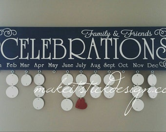 Family Birthday Board, Celebrations Board, Birthday Calendar, Family Celebrations, Navy and White Wall Hanging