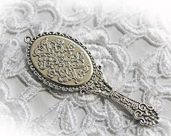 Reneabouquets Vintage Hand Mirror Charm~Scrapbook Embellishment, Craft Supply, Jewelry Charm