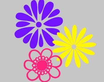 Set of 3 Flower Wall Decals DIY Vinyl wall Decal home decor wall art Girls Room Decor Flower stickers