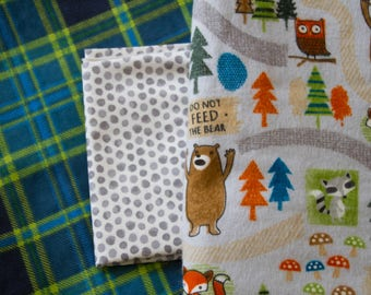 Made to Order Outdoorsy Flannel Baby Quilt, Woodsy Baby Blanket, Plaid and Forest
