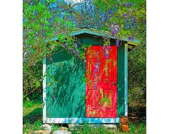 Wisteria Art, Wisteria Print, Red Door Art, Wall Decor, Southern Flowers, Southern Vines Print, Purple Flowers Art, Old Shed Print, Korpita