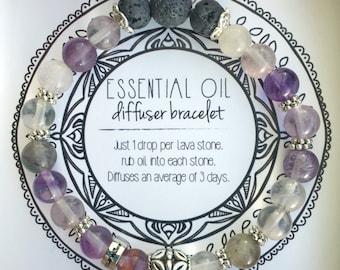 MANIFEST Essential Oil Diffuser Bracelet | Lava Beads | aroma bracelet | fluorite | purple and black bracelet | mala bracelet FREE SHIPPING