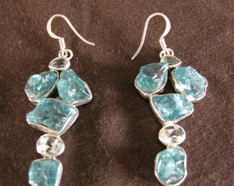 Sterling Silver Rough Apatite and Blue Topaz Drop Earrings