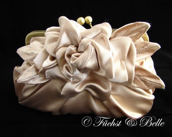 Champagne Bridal Clutch,  large flower pleated evening purse with chain - Gardenia