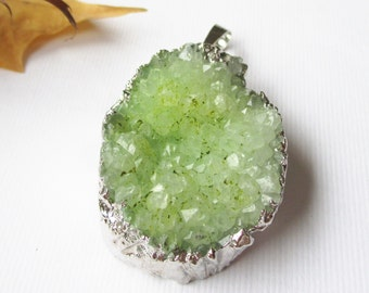 Green Druzy Geode Pendant - Edged Silver Teardrop - Natural Crystal Gemstone Pendant With Loop - Easter Gift - With/Without Chain Druzy