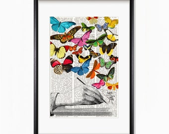 Dictionary Art Print WRITING HAND and BUTTERFLIES, Vintage illustration, butterfly art, wall decor, prints, quirky, whimsical decor, #209