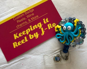 Adorable Octopus themed badge reel