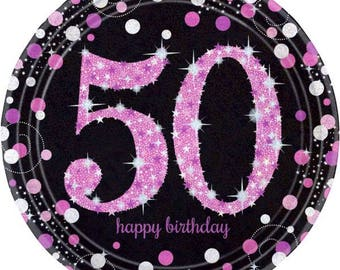8 Ct Sturdy 9 Inch disposable Sparkling Pink u0026 Black 50th Birthday Party Paper Plates - Dinner - Luncheon Size Plates & Pink paper plates | Etsy